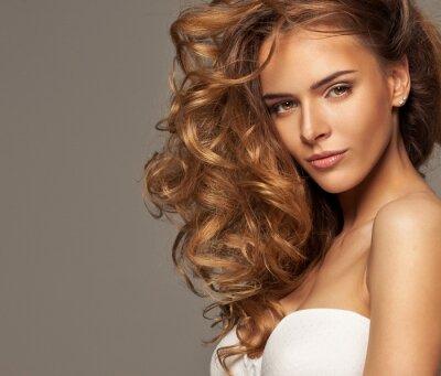 Canvastavlor Mode foto av blond skönhet med naturliga make-up