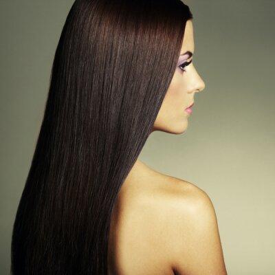Canvastavlor Mode foto av en ung kvinna med mörkt hår
