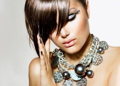 Canvastavlor Mode Glamour skönhet flicka med elegant frisyr och smink