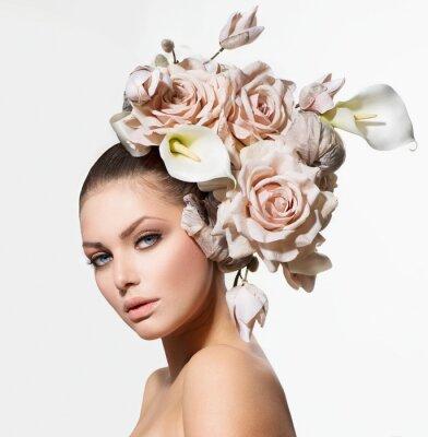 Canvastavlor Mode skönhet flicka med blommor hår. Brud. kreativa frisyr