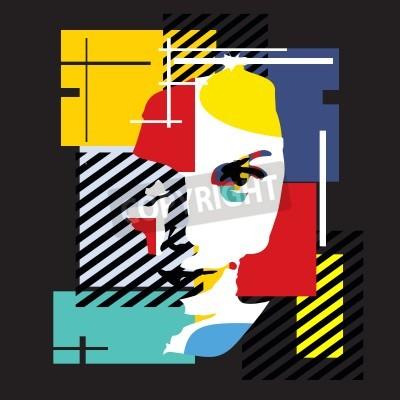 Canvastavlor Mode tjej. Modern illustration. Kubism