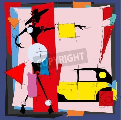 Canvastavlor Modeillustration i stil med kubismen