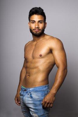 Canvastavlor Modelo masculino musculoso con torso Desnudo
