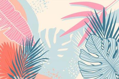 Canvastavlor Modern tropical background. Jungle plants nature backdrop. Summer palm leaves wallpaper.
