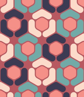 Canvastavlor Modern vektor sömlösa färgrik geometri hexagon mönster, färg abstrakt geometrisk bakgrund, kudde flerfärgad tryck, retro textur, hipster modedesign