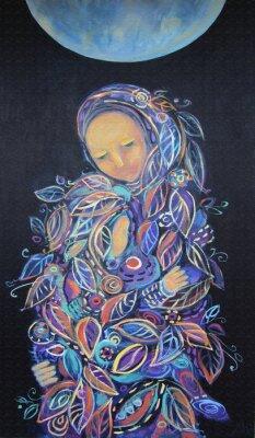 Canvastavlor Moderskap. Madonna med barn. Vacker akrylmålning på duk av kvinna i bladverk kläder med barn under fool månen på en svart bakgrund. Handritad porträtt. Bladmönster. Inredning.
