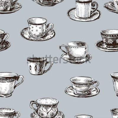Canvastavlor mönster av tekopparna