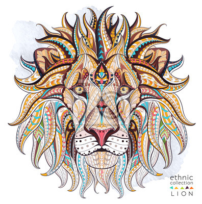 Canvastavlor Mönstrad chef för lejon på grungebakgrund. Afrikansk / indiska / totem / tatuering design. Den kan användas för konstruktion av en t-shirt, väska, vykort, en affisch och så vidare.