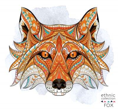 Canvastavlor Mönstrad chef för rödräv på grungebakgrund. Afrikansk / indiska / totem / tatuering design. Den kan användas för konstruktion av en t-shirt, väska, vykort, en affisch och så vidare.