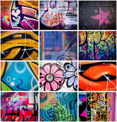 Canvastavlor Montage de graffitis