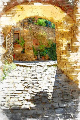 Canvastavlor Montefioralle, one of the most beautiful villages of Tuscany, Italy