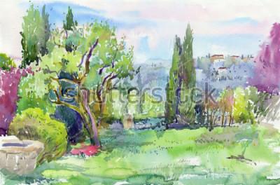 Canvastavlor Morgon i den italienska trädgården. Vattenfärg