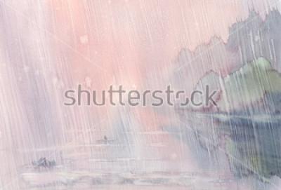 Canvastavlor morgon rain akvarell landkap