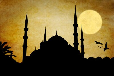 Canvastavlor moschea silhuett