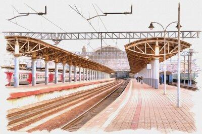 Canvastavlor Moscow city. Railway station platform. Imitation of a picture. Oil paint. Illustration