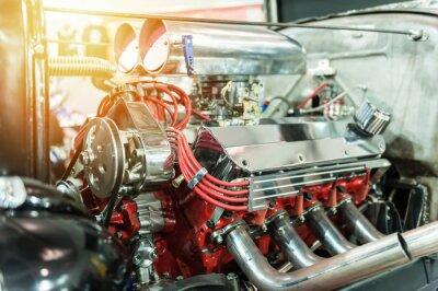 Canvastavlor Motor av en hot rod