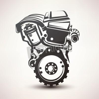 Canvastavlor motor bilsymbol, stiliserad vektor silhuett ikon
