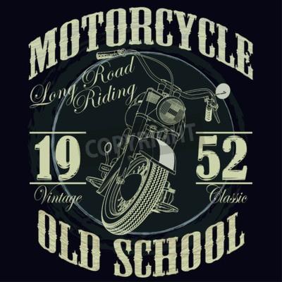 Canvastavlor Motorcykel Racing Typografi Graphics. Old school cykel. T-shirt design, vektor illustration
