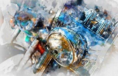 Canvastavlor Motorcykel strålkastare. Digital akvarellmålning