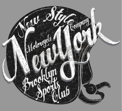 Canvastavlor Motorcykelhjälm Typografi New York Sports Club