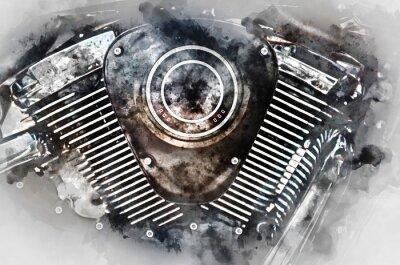 Canvastavlor Motorcykelmotor närbild. Digital akvarellmålning.