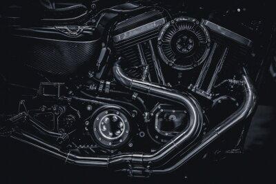 Canvastavlor Motorcykelmotorens avgasrör konstfotografi i svartvitt vintageton