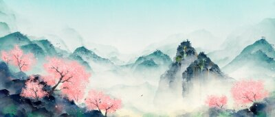 Canvastavlor Mountain forest with peach blossoms in spring and summer. Oriental ink landscape painting.