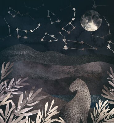 Canvastavlor .Mountain night landscape with leopard. .Collage of textured shiny metallic paper