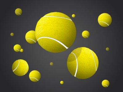 Canvastavlor Moving tennisbollar flyga, fallande isolerad på mörk bakgrund.