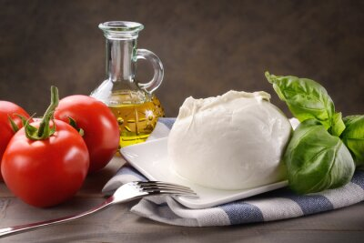 Canvastavlor Mozzarella di Bufala con pomodori, Basilico e olio extra virgin