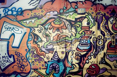 Canvastavlor Mur de graf coloré