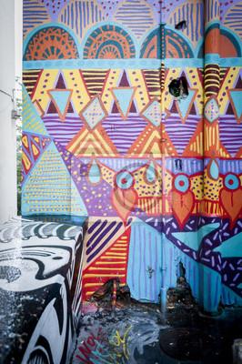 Canvastavlor Mur de graffiti coloré