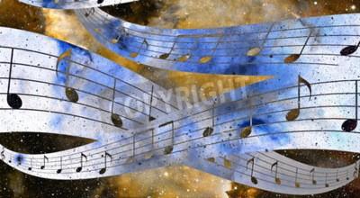 Canvastavlor musik noterar och Space och stjärnor med abstrtact bakgrundsfärg