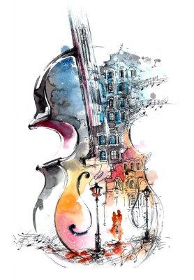 Canvastavlor musik och staden