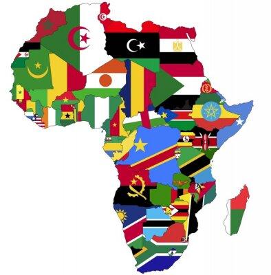 Canvastavlor Mycket detaljerade Afrika kartlägger med Country Flags.