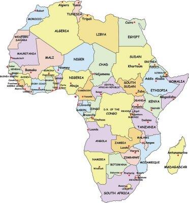 Canvastavlor Mycket detaljerade Afrika Political Map.