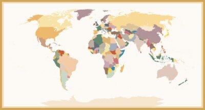 Canvastavlor Mycket detaljerade Blind politiska världskarta vintagefärger