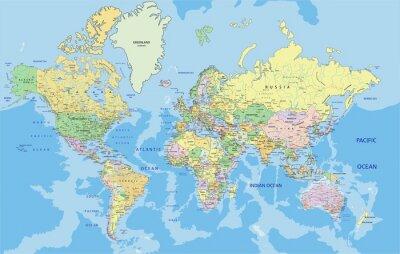 Canvastavlor Mycket detaljerade politiska Världskarta med märkning.