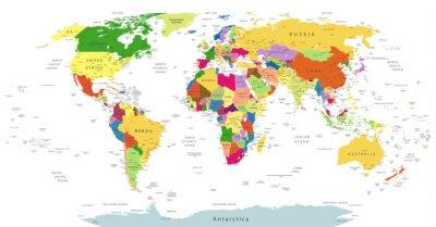 Canvastavlor Mycket detaljerade politiska World Map Isolerad White