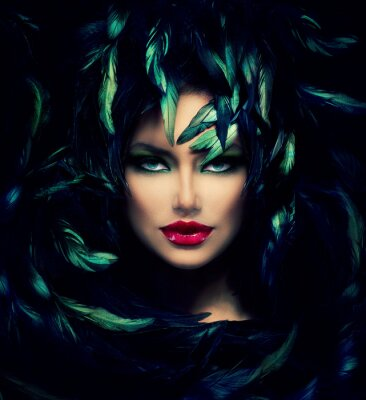 Canvastavlor Mystisk kvinna porträtt. Vacker modell kvinna ansikte Närbild