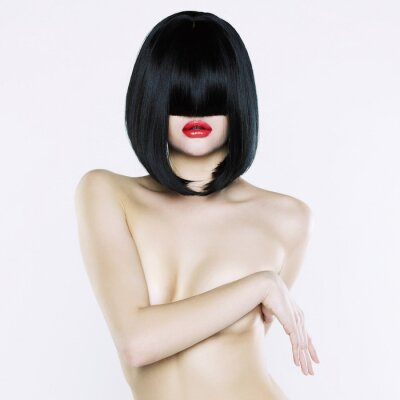 Canvastavlor Naken kvinna med kort frisyr