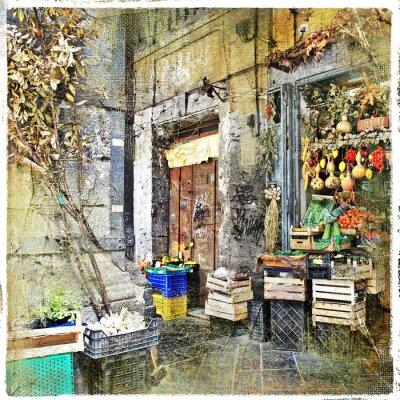 Canvastavlor Napoli, Italien - gamla gator med liten butik, konstnärlig bild