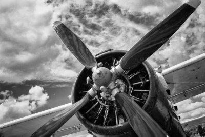 Canvastavlor Närbild av gamla flygplan i svartvitt