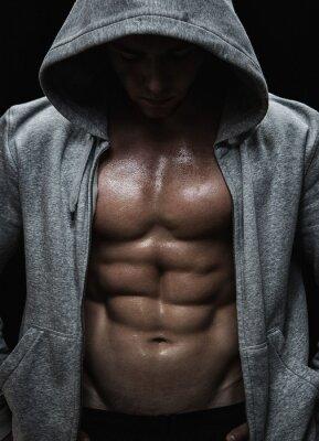 Canvastavlor Närbild av muskulös sport man efter vikter utbildning