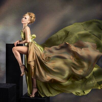 Canvastavlor Närbild mode Porträtt av ung vacker kvinna