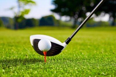 Canvastavlor Närbild på golfboll på tee för första stroke