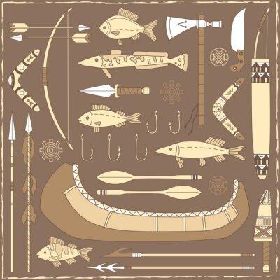 Canvastavlor Native American fiskedesignelement