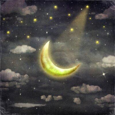 Canvastavlor Nattetid med stjärnor och måne