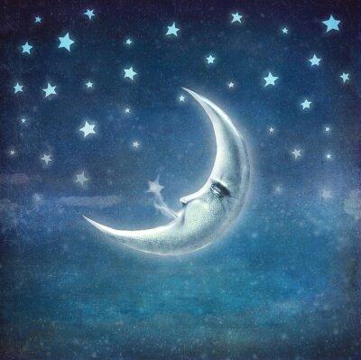 Canvastavlor Nattetid med stjärnor och måne, bakgrund