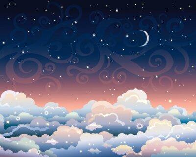 Canvastavlor Natthimlen med moln och månen.